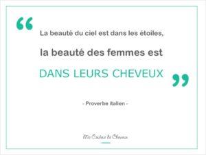"""Citation proverbe italien """"La beauté du ciel est dans les étoiles, la beauté des femmes est dans leurs cheveux"""""""