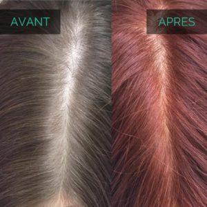 Avant après henné pour cheveux