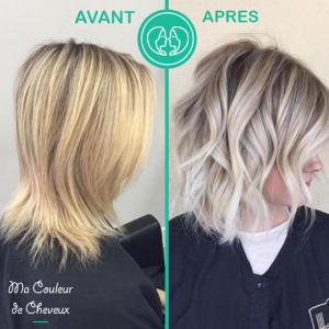 Cheveux blond avant après
