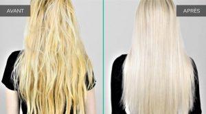 Avant après reflets jaunes cheveux
