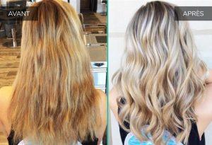 Avant après reflets roux cheveux