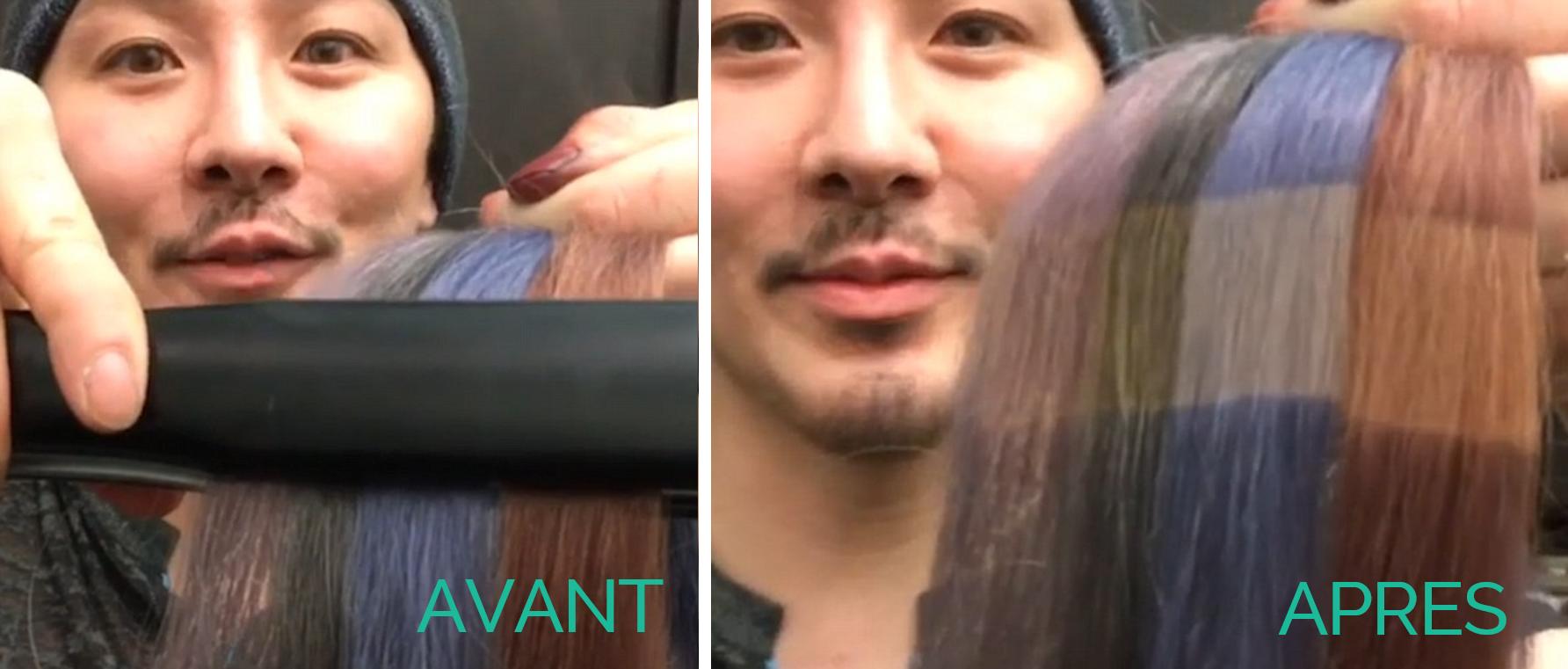Effet du fer à lisser sur les cheveux colorés