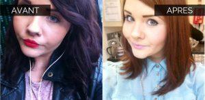 Démaquillage cheveux noirs avant après
