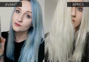 Démaquillant capillaire avant après cheveux bleus