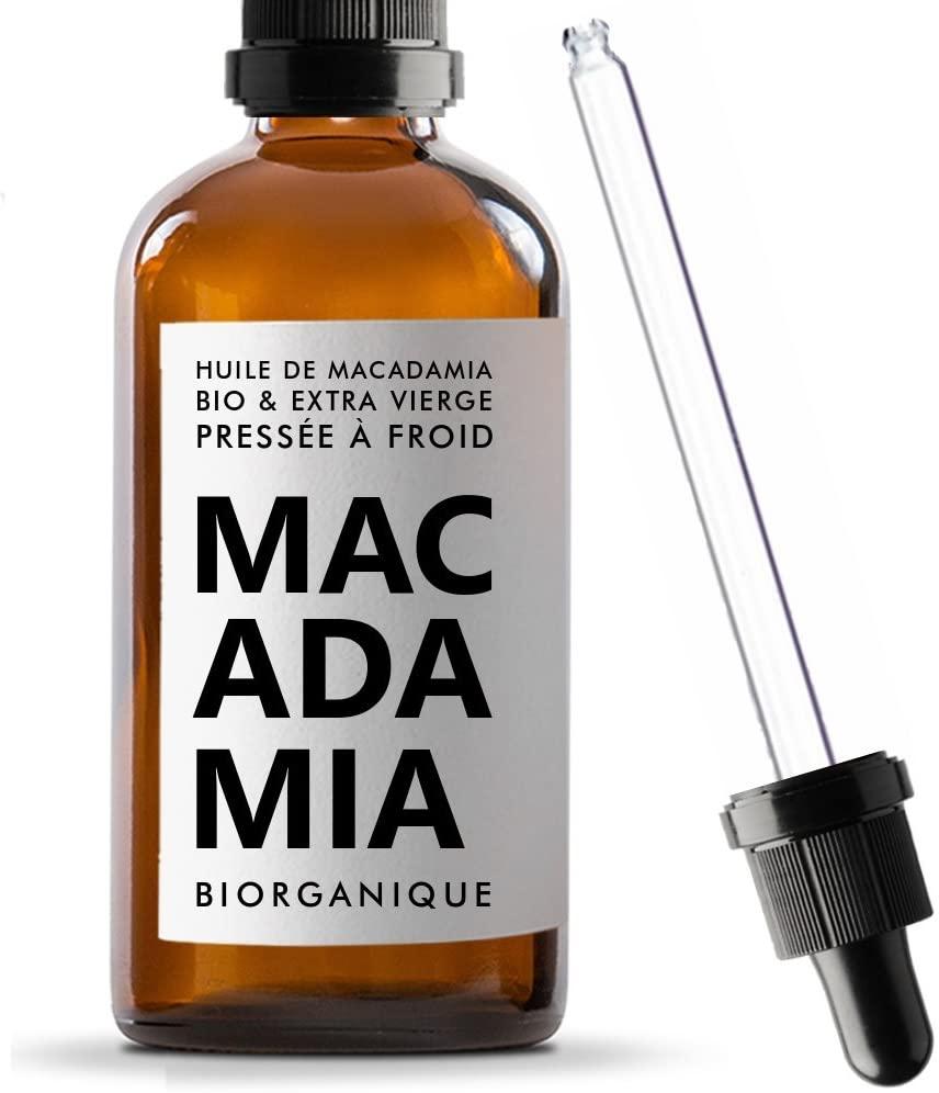Huile de noix de macadamia cheveux bouclés