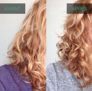 Glycérine végétale cheveux bouclés avant après