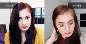 Avant après B4 cheveux rouge