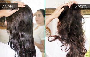 Avant après rincage huile cheveux