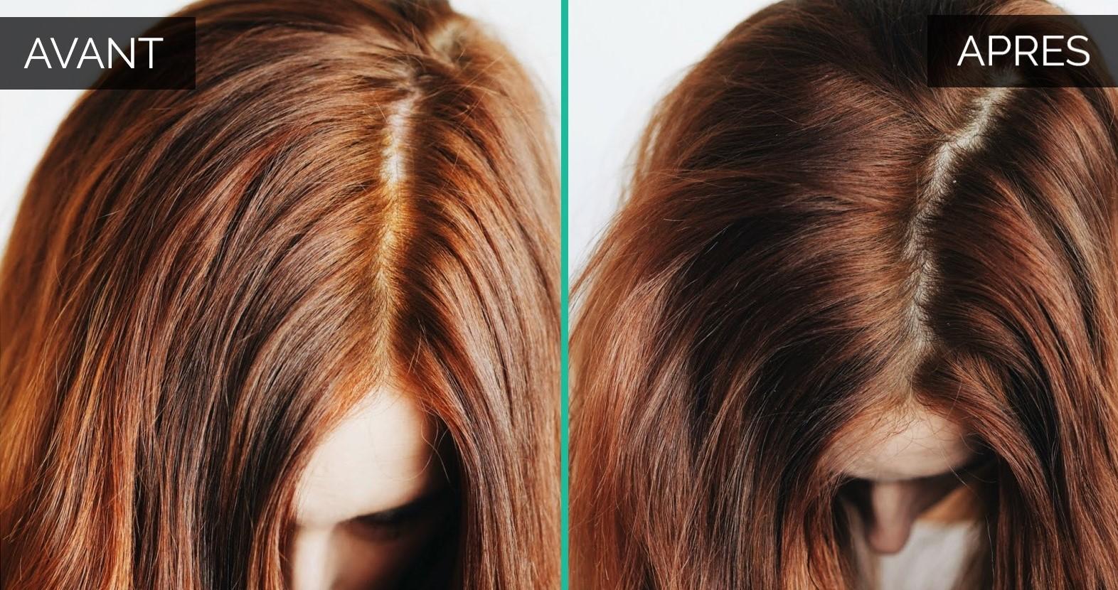 Avant après cheveux auburn